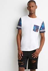 Forever 21 Galaxy Print Sleeved Tee White Green