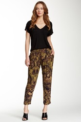 Haute Hippie Narrow Drawstring Silk Trouser Metallic
