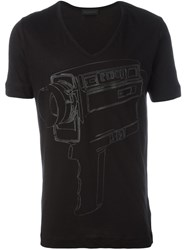 Diesel Black Gold Camera Print T Shirt Black