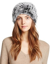 Surell Rabbit Fur Slouch Hat Gray