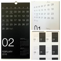 Minimalist Black And White 2016 Wall Calendar By Hayesstudio