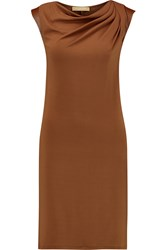 Michael Kors Leather Trimmed Draped Stretch Jersey Mini Dress Brown