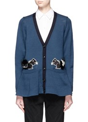 Muveil Rabbit Fur Trim Patch Cardigan Blue