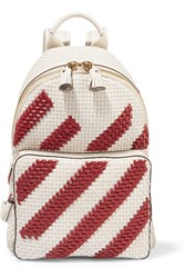 Anya Hindmarch Mini Striped Woven Leather Backpack Ivory Claret