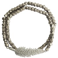Electric Picks Floating Feather Wrap Bracelet Silver