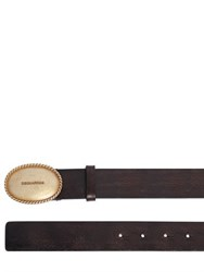 Dsquared 35Mm Vintage Effect Leather Belt