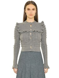 Philosophy Di Lorenzo Serafini Ruffled Merino Wool Knit Cardigan