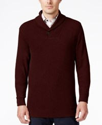 Tasso Elba Men's Big And Tall Honeycomb Textured Shawl Collar Sweater Only At Macy's Wine Heather