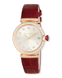 Bulgari 33Mm Lvcea 18K Pink Gold Watch Bvlgari