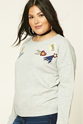 Forever 21 Plus Size Zoom Patch Sweatshirt Heather Grey