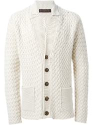Etro Chunky Knit Buttoned Cardigan Nude And Neutrals