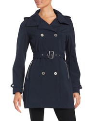 French Connection Belted Trench Coat Navy Blue