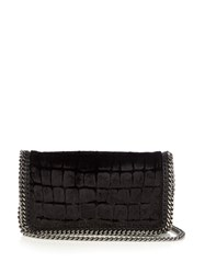 Stella Mccartney Falabella Crocodile Effect Velvet Cross Body Bag Black