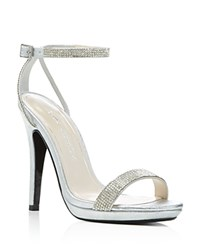 Caparros Destiny Metallic Rhinestone Embellished High Heel Sandals Silver