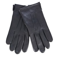John Lewis Fleece Lined Leather Gloves Black