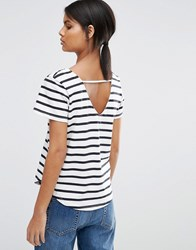 Selected Natali Striped T Shirt With Scoop Back White Navy Multi