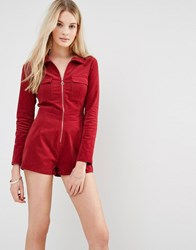 Love And Other Things Corduroy Utility Playsuit Red Wine