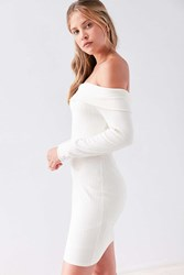 Silence And Noise Lauralie Off The Shoulder Ribbed Mini Dress Cream