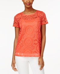 Charter Club Short Sleeve Lace Top Only At Macy's Modern Coral