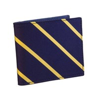 40 Colori Navy Yellow Striped Silk And Leather Billfold Wallet Blue Yellow Orange