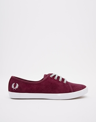 Fred Perry Bell Suede Oxblood Plimsoll Trainers