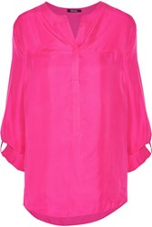 Raoul Carnaby Brushed Silk Twill Blouse Fuchsia