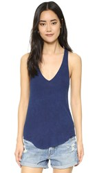 Feel The Piece Lilith Ribbed V Neck Tank Mineral Navy