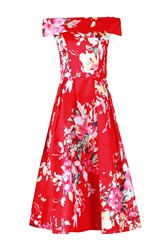 Jolie Moi Bardot Neckline Prom Dress Red