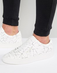 Religion Cracked Print Trainers White