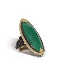 Armenta Elongated Oval Green Onyx And Black Diamond Ring Size 6.5