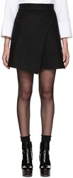 Carven Black Wool Wrap Skirt