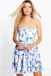 Boohoo Floral Bandeau Skater Dress Blue