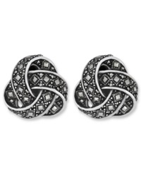 Genevieve And Grace Sterling Silver Earrings Marcasite Square Knot Clip On Earrings