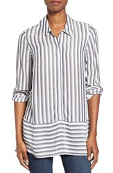 Pleione Women's Stripe Tunic Shirt Navy Ivory
