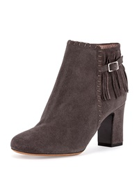 Surrey Fringe Suede Ankle Bootie Gray Tabitha Simmons