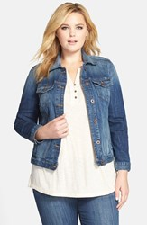 Plus Size Women's Lucky Brand Denim Jacket Lapis Lazuli