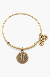 Women's Alex And Ani 'Initial' Adjustable Wire Bangle H Russian Gold
