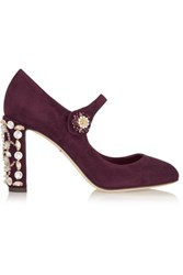 Dolce And Gabbana Crystal Embellished Suede Mary Jane Pumps Burgundy
