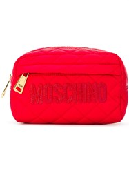 Moschino Quilted Make Up Bag Red