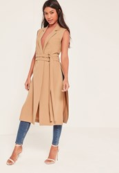 Missguided Brown Double Belt Sleeveless Duster Coat Camel