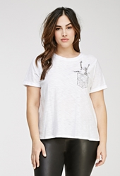 Forever 21 Map Pocket Graphic Tee White Black