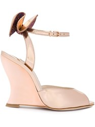 Sophia Webster Bow Detail Wedge Sandals Metallic