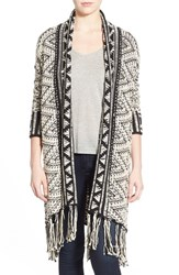 Women's Willow And Clay Long Fringe Open Front Cardigan