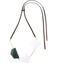 Marni Wood And Leather Pendant Necklace Lily White