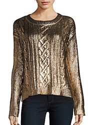 Saks Fifth Avenue Red Foiled Cable Sweater Gold