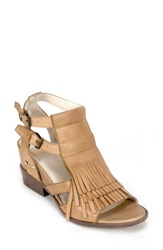 Summit By White Mountain 'Gera' Leather Fringe Sandal Women Cognac Leather