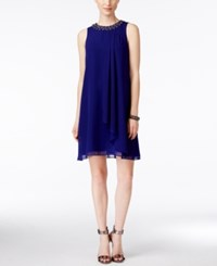 Vince Camuto Sleeveless Embellished Trapeze Dress Royal Blue