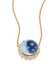 Jacquie Aiche Blue Moon And Stars Diamond And 14K Yellow Gold Cameo Necklace Gold Blue
