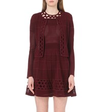 Sandro Open Embroidered Knitted Cardigan Burgundy
