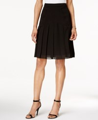 Kasper Crepe A Line Chiffon Pleated Skirt Black